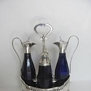 European Hallmarked Silver Cobalt Cruet Condiment Stand Set