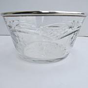 European Silver Hallmarked Rim Cut Crystal Bowl