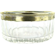 Small Vintage Glass Dressing Table Jar with Silver Plate Edge Detail