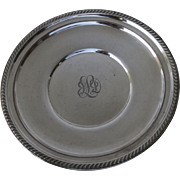 Vintage Round Silver Plated Bowl Gadrooned Edge Engraved Monogram by Lawrence B. Smith, Boston