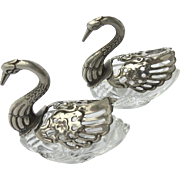 Silver & Crystal Swan Salt Cellars with Articulated Wings, Pair