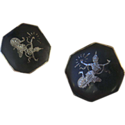 Large Pair Sterling Handmade Siam Cuff Links 1 1/16""
