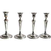Set of Four English Old Sheffield Plate Candlesticks