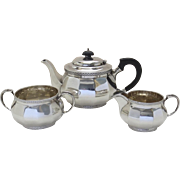 1920's Walker Hall English Sterling Three Piece Tea Set Bachelor Set