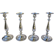 "Set of Four (4) Sterling Tall 12"" Candlesticks by Dominick & Haff Louis XVI Style"