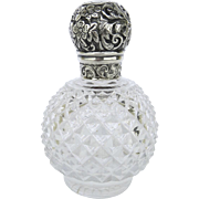 English Sterling & Crystal Perfume Scent Bottle Late 19th Century Hallmarked
