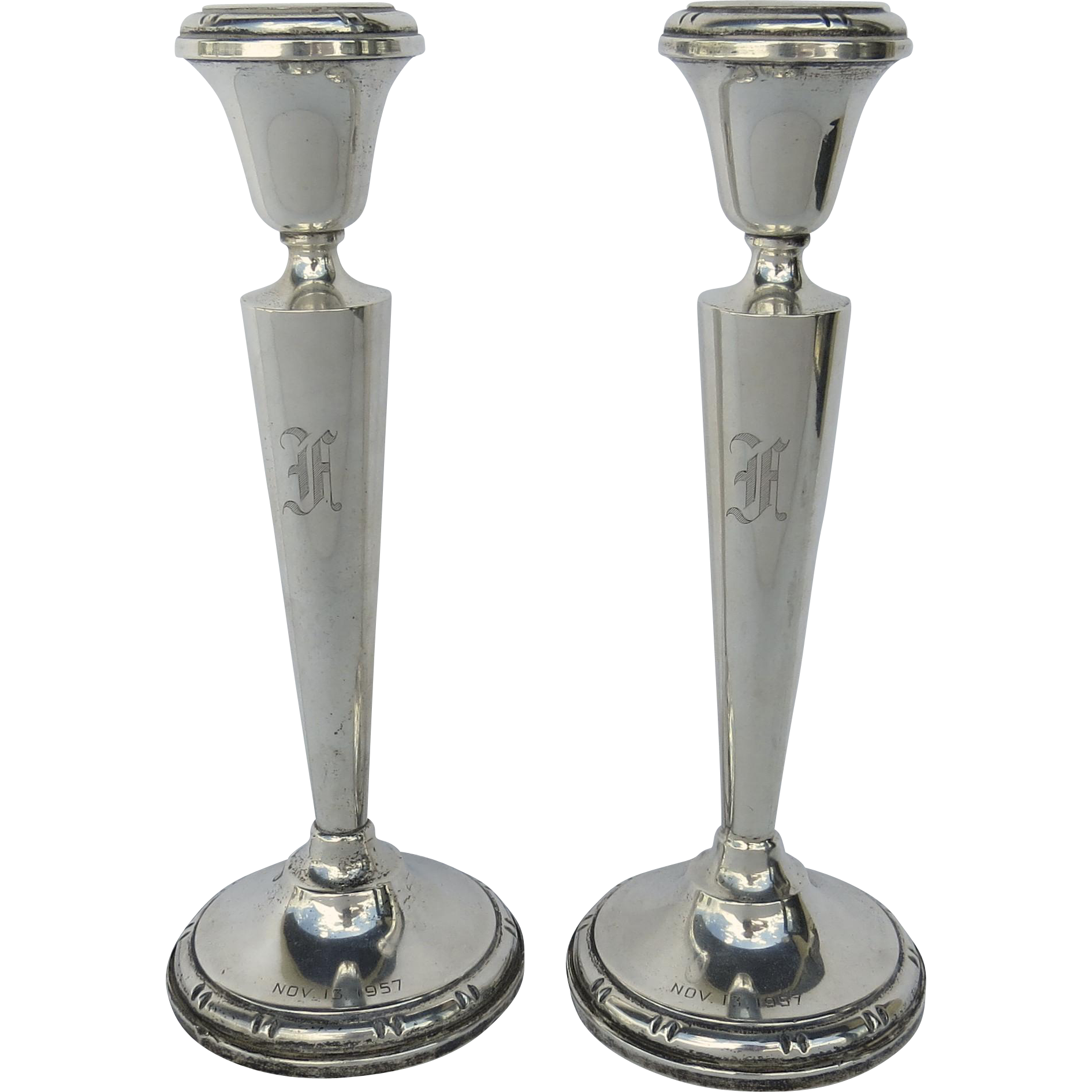 b m baldwin miller sterling silver bamboo pattern candlestick from blacktulip on ruby lane