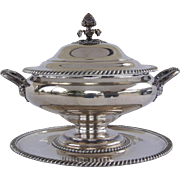 Old Sheffield Fused Silver Tureen and Under Plate by Gainsford c 1810