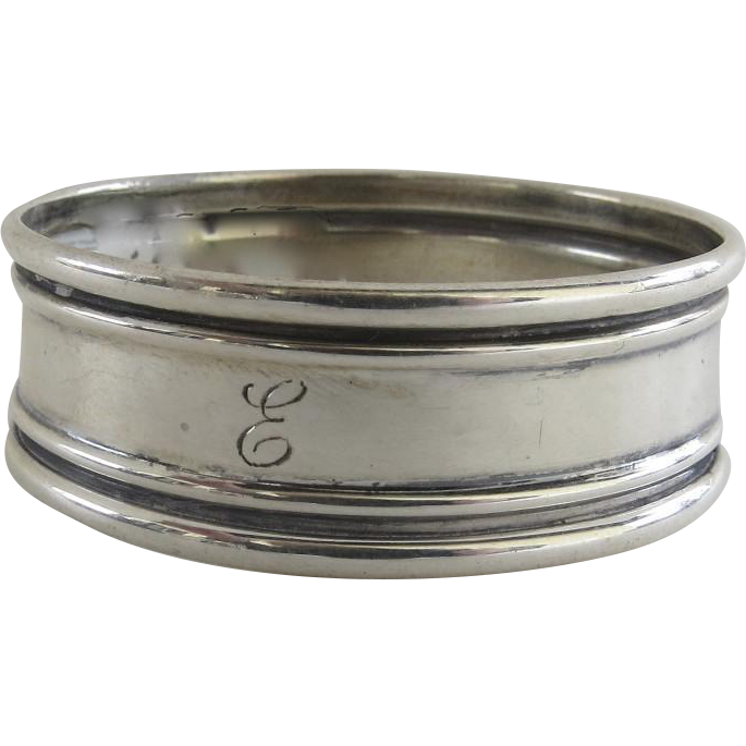 vintage sterling silver napkin ring engraved quot e quot from