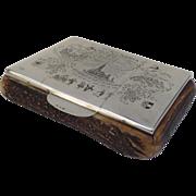 """1925 Austria Austrian Silver Enamel Hallmarked Cigar Humidor Box Antler Horn 900 Fineness Marker's Mark """"FP"""""""