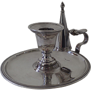 English 19th Century Silver Plated Chamberstick Snuffer