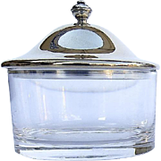 Vintage Glass Jam Jelly Condiment Jar with Silver 800 Finess Lid