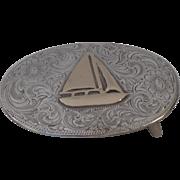 Vintage Sterling 10K Gold Western Belt Buckle Sailing Boat Sailboat Signed