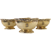 Gustave Keller, Keller Frères (Paris, 1881-1922) Set of Four (4) Open Salt Cellars Vermeil