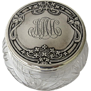 Late 19th Century Sterling Foster & Bailey Repousse Lidded Vanity Dresser Jar Cut Glass Monogrammed
