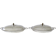George III Pair Oval Solid Silver Servers with Lid Pineapple Finial By John Scofield Lodon 1788