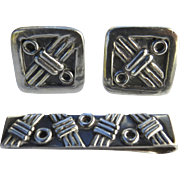 1960's Taxco Sterling Silver Cufflinks and Tie Bar by Emma Melendez