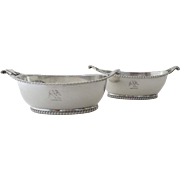 Pair English Sterling Silver Open Salts c 1802 Boat Shaped Scroll Handles Family Crest