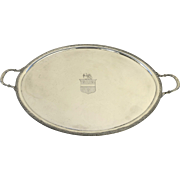 Early English Sheffield oval Tray with Armorial