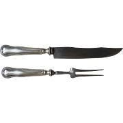 19th Century Silver Plate and Stainless Steel Carving Set  Old French Pattern