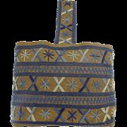 Vintage Burlap Embroidered Tote Bag Mid Century