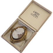 Large Cameo Brooch Pin Spins to Daguerreotype c 1870