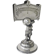 Reed and Barton 19th Century Calling Card Holder Figural with Putti Cherub Angel Holding the Cards