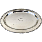 """S.2069  Silver Plate Oval Tray whit """"25"""" Engraving by Friedman Silver Co Inc. Brooklyn NY"""