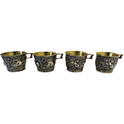 19th Century Set of Four Cups Mugs Beakers Silver (850 Finess) with Gold Wash (Vermiel) by Emille Gillieron Rare Art Replica Vapheio Cup