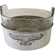 1900's Silver Plated Ice Bucket with Etched Glass Liner