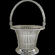 Vintage Meriden Sterling Silver Swing Handle Glass Liner Pierced