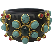 Vintage Statement Black Bangle Bracelet with Set Stones Costume