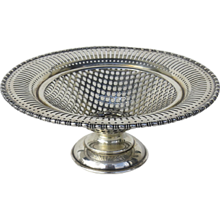 Vintage Silver Plated Footed Lattice Pierced Bowl with Laurel Leaf Wreath Center Motif