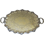 19th Century English Silver Plate Oval Footed Tray Engraved