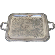 Vintage Large silver plated serving tray, Made by Cavalier.