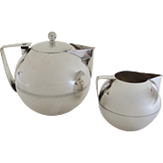 Napier Art Deco Silver Plated Coffee Pot Teapot and Stackable Creamer Sugar by James H. Napier