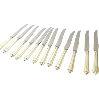 Set of 12 Sterling Silver Handles Dinner Knives by Gorham Plymouth