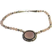 Native American Delbert Delgarito Sterling Silver Pink Quartz Vintage Necklace Beads Navajo