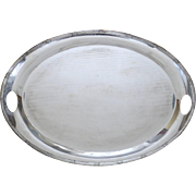 Large Vintage Oval Towle Silver Plated Serving Tray Hand Cut Outs Footed
