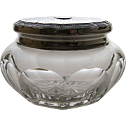 1920's Sterling Silver Lid Cut Glass Dresser Jar Bottle by Webster