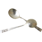 2 x Vintage Community Silver Plate Soup Boullion Round Bowl Spoons Coronation Pattern