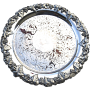 Tray Salver Footed with Grape Vine Motif