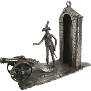 Dutch Silver Hallmarked Miniature Soldier Sentry Canon