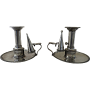 Pair of English Sheffield Fused Old Sheffield Chambersticks Chamber Candlesticks and Snuffers by Matthew Boulton