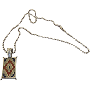 Vintage Carolyn Pollack Relios, Inc. Sterling 925 Native American Rug Pendant Necklace