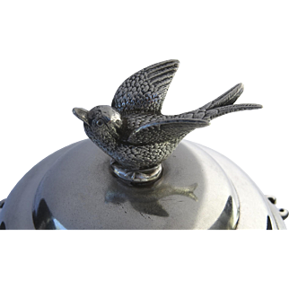 19th Century Silver Plated Spooner Bowl Bird Finial Rogers