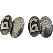 "Pair of Sterling Silver Handmade Cufflinks by M. W. Hanck, Park Ridge, Ill 1920's Initial ""G"" Hammered Finish"