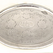 Late 19th Century Silver Plated Oval Tray by Meriden Company Gift to J. H. Murch 1874