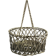 Vintage Silver Wire Basket with Handle