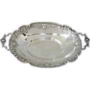 European Silver Small Centerpiece with Handles Repousse Edge